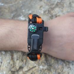Survival & Überlebens - Notfall - Armband mit Pfeife, Feuerstein und Kompass