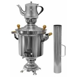 Edelstahl Holzkohle Samowar 5 Liter mit 0,9 Liter Teekanne + Schornstein Wasserkocher