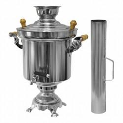 Edelstahl Holzkohle Samowar 5 Liter mit Schornstein Wasserkocher Teekocher Grill