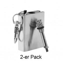 2 x Benzin Streichholzfeuerzeug als Schlüsselanhänger Streichholz Benzin Feuerzeug