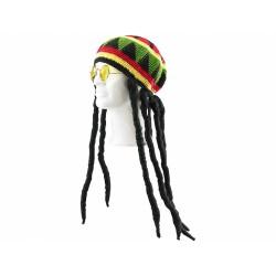 infactory Jamaika Dreadlocks Perrücke mit Brille Dread Locks Verkleidung Kostüm
