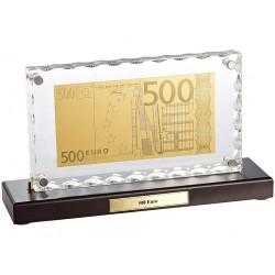 St. Leonhard 500 Euro Banknoten-Replik veredelt mit Gold in Acrylglas-Aufsteller