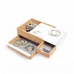 Umbra STOWIT Schmuckkasten 290245-668 in weiß / Holz Design Schmuckbox Etui Aufbewahrung