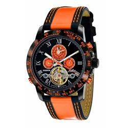 Zeitlos ZL-GBO-3 Gandor Race Herrenuhr Armbanduhr schwarz orange Uhr Automatikuhr